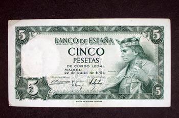 Anverso de un billete de cinco pesetas acuñado por el Banco de E