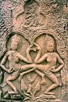Figuras danzantes en relieve, Angkor, Camboya