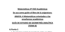 4º ESO. Guía de estudio de Geometría Analítica.