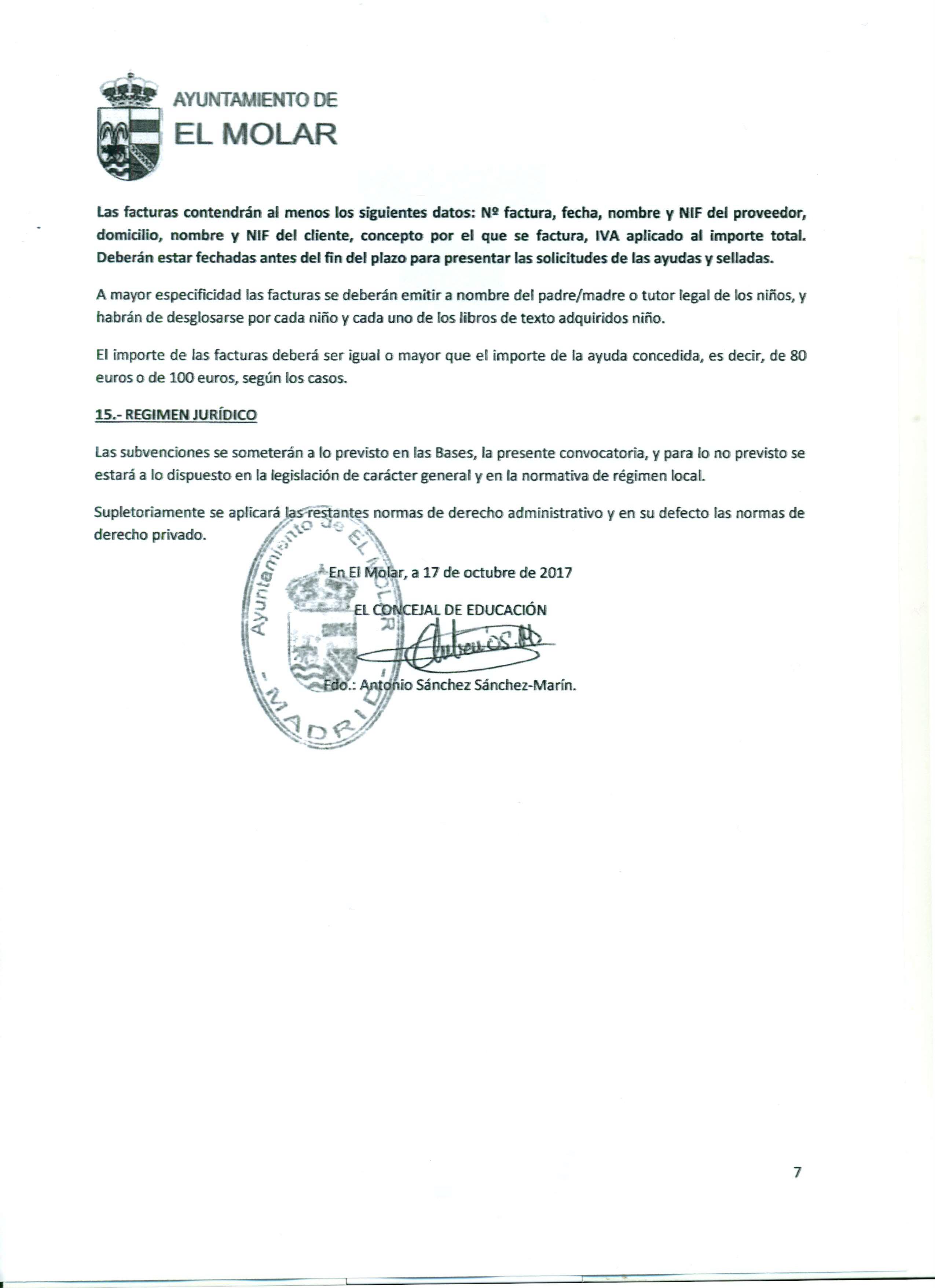 Convocatoria de ayudas económicas, que otorga la Concejalía de Educación del Ayuntamiento de El Molar, para la adquisición de libros de texto para el curso académico 2017-2018