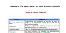 Fechas admisión 2020-2021