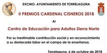 Premio Cardenal Cisneros al CEPA Sierra Norte