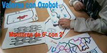 Valores con Ozobot: mentores de 6º con 2º (fotos al inicio, vídeos al final)