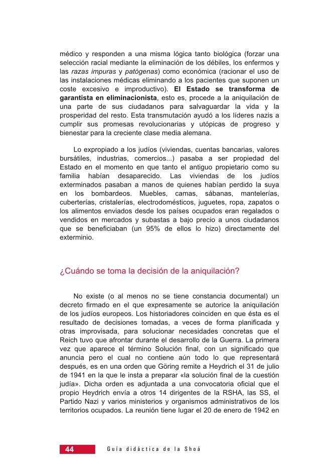 Página 44 de la Guía Didáctica de la Shoá
