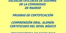 Certificado de Nivel  Básico (A2). Alemán. Modelo A