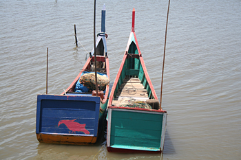 Barcas tradicionales, Campamento de pescado, Alunaga, Sumatra, I