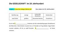 Gesellschaft im 19. Jahrhundert (Arbeitsblatt) - 4º ESO