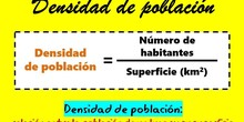 Fórmula para el cálculo de la densidad de población