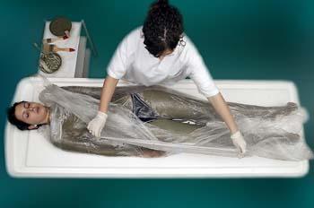 Envolturas de arcillas y algas: retirada sábana envolvente