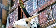 Detalle de casa Toraja, maderas talladas, Sulawesi, Indonesia