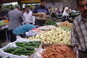 Mercado árabe de frutas y verduras