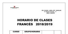 Horario francés 2018-2019