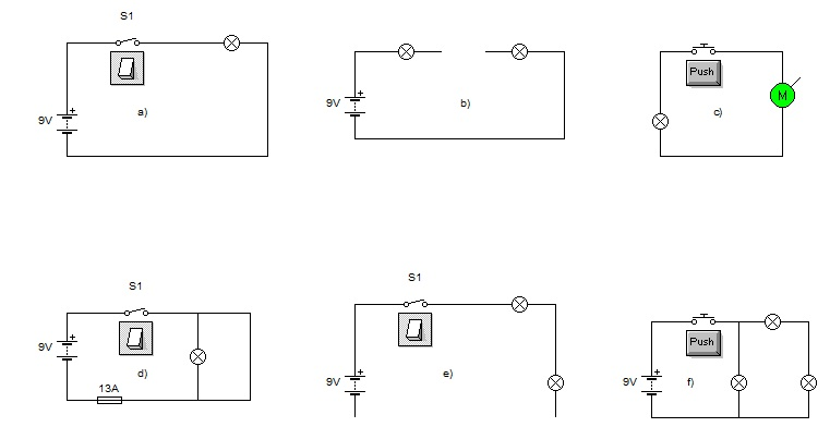 Closed and Open circuits examples