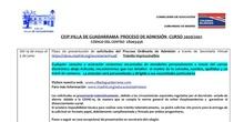 CALENDARIO DEL PROCESO DE ADMISIÓN