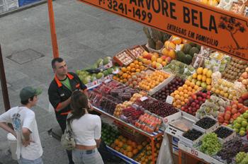 Vendedor del Mercado de abastos de Sao Paulo, Brasil