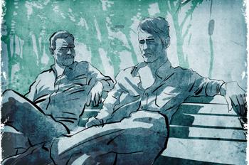 La piscina imposible: Amigos sentados en un banco