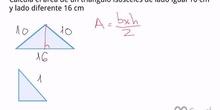 Cálculo del área de un triángulo isósceles por Pitágoras