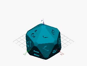 Dado icosaédrico de 20 números