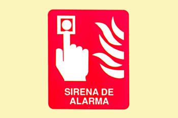 Incendio: sirena de alarma cuadrada