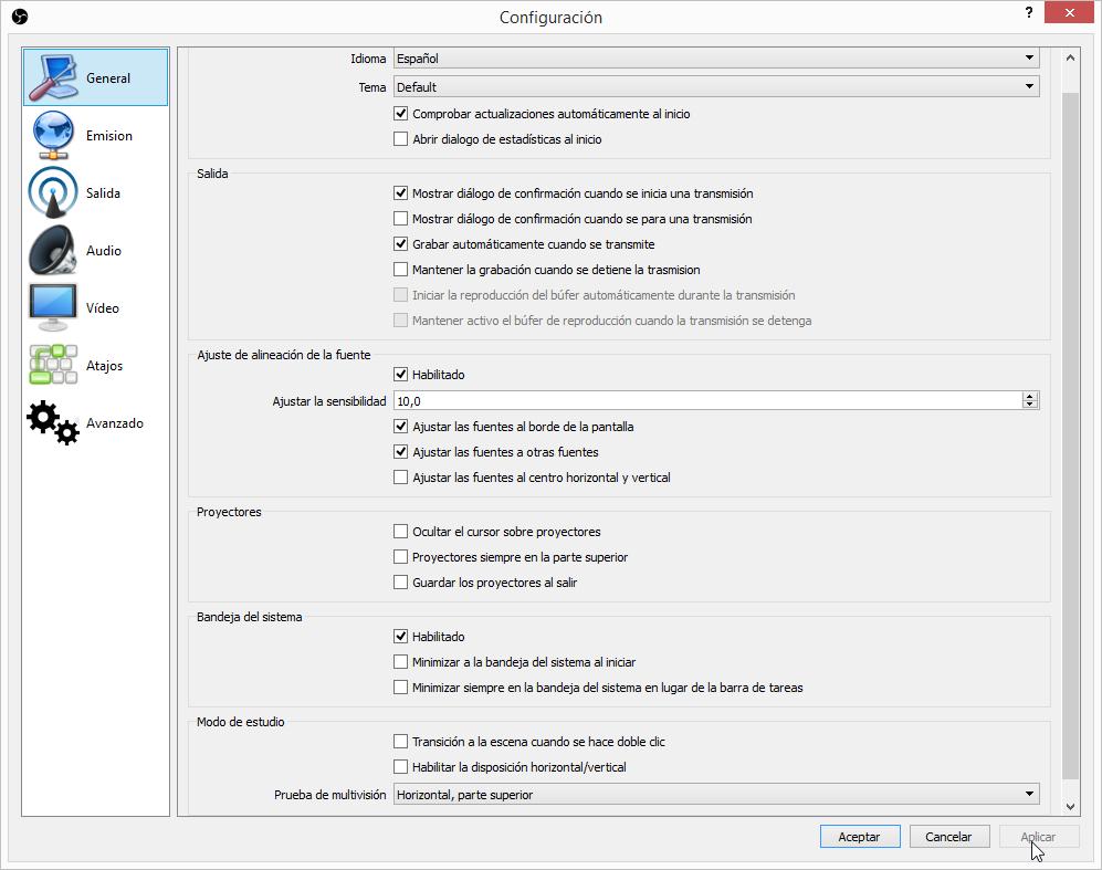 Configuración de OBS habitual para creación de videotutoriales