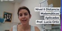 Vídeo Presentación Matemáticas Aplicadas Distancia Nivel II