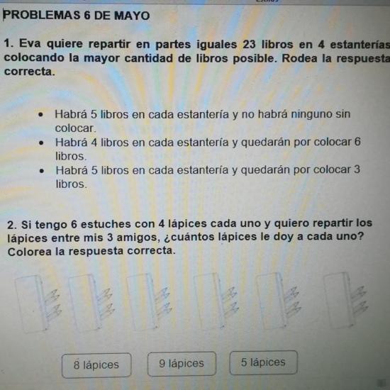 PROBLEMAS MATEMÁTICAS 6 DE MAYO
