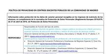 POLÍTICA DE PRIVACIDAD DE DATOS EN CENTROS DOCENTES PÚBLICOS DE LA COMUNIDAD DE MADRID