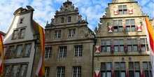 Fachadas de casas principales de Muenster, Alemania
