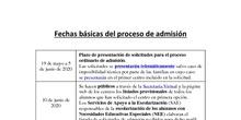 FECHAS BÁSICAS ADMISIÓN 20/21