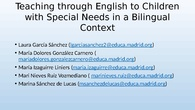 Teaching Through English to Children with Special Needs in a Bilingual Context (Perry's adaptation)