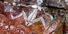 Pintura rupestre femenina en Nourlangie Rock, Kakadu, Australia