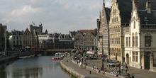 El Graslei, desde el Puente de San Miguel, Gante, Bélgica