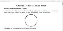 MATEMÁTICAS 5º. ÁREA DEL CÍRCULO