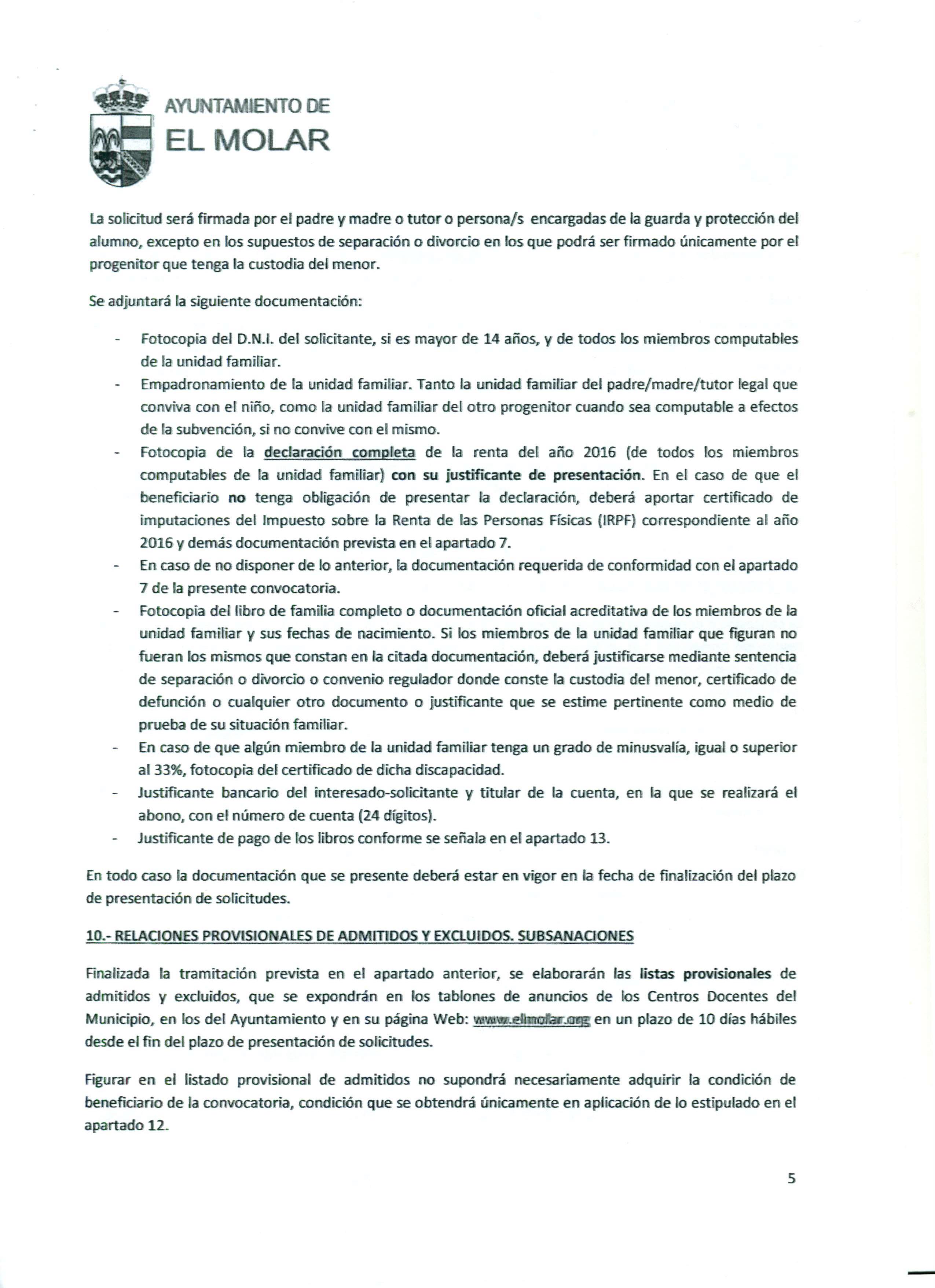 Convocatoria de ayudas económicas, que otorga la Concejalía de Educación del Ayuntamiento de El Molar, para la adquisición de libros de texto para el curso académico 2017-2018 3