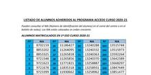 LISTADO DE ALUMNOS ADHERIDOS AL PROGRAMA ACCEDE CURSO 2020-21