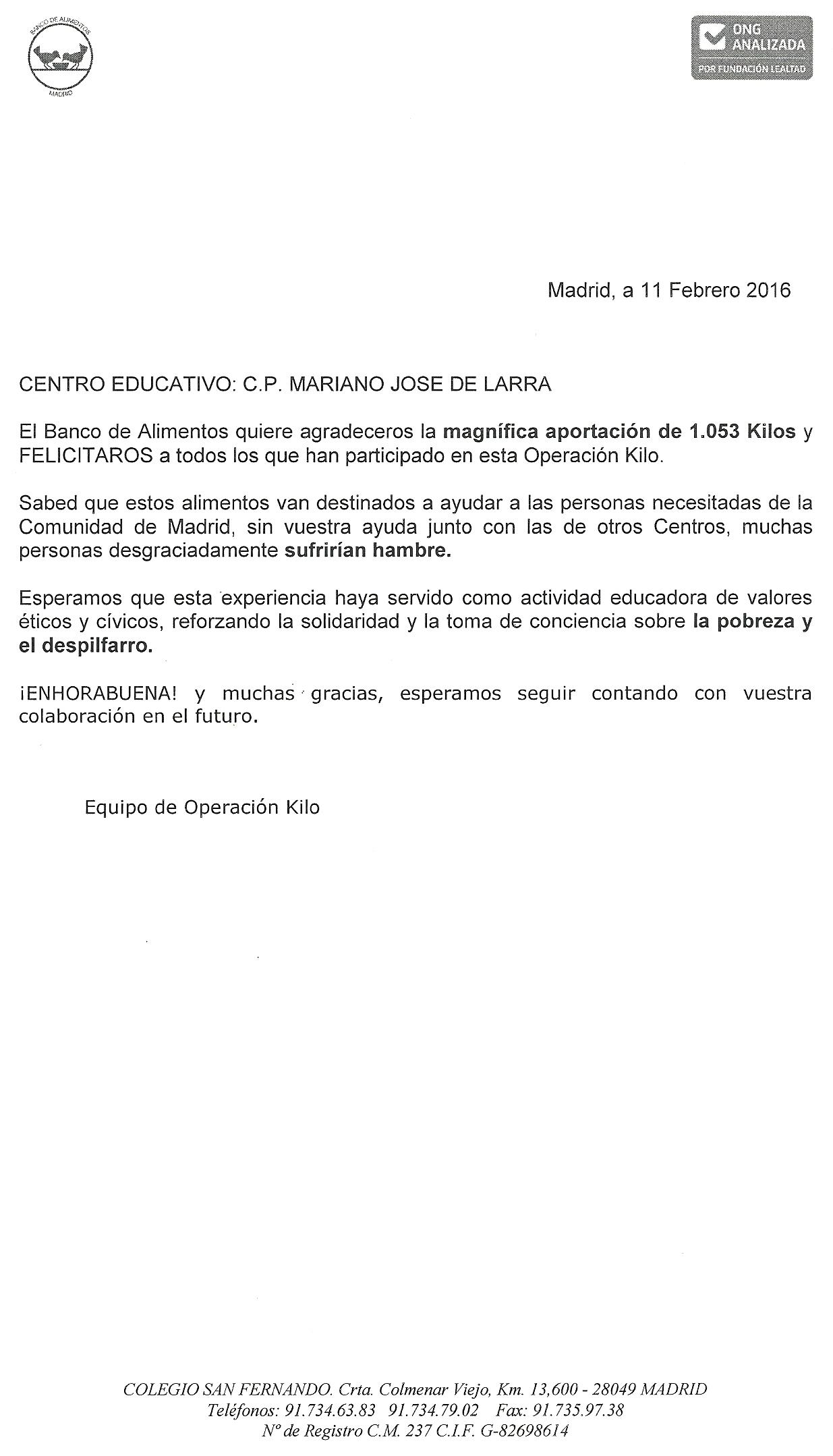 CERTIFICADO DE RECOGIDA DE ALIMENTOS