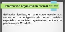 Información familias CEIP Claudio Vázquez. Inicio Curso 2020/2021