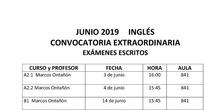 fechas exámenes junio 2019