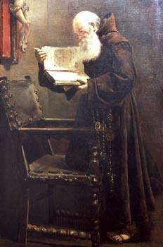 Obra Monje leyendo, de Felipe Checa - Badajoz