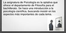 PRESENTACIÓN DE LA ASIGNATURA DE PSICOLOGÍA 2º BACH
