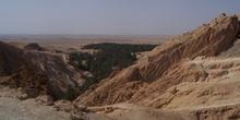 Vistas desde el oasis de montaña, Chébika, Túnez