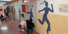 Intervención artística en el pasillo de 2º ESO del edificio B 2