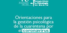 Orientaciones para la gestión psicológica del coronavirus