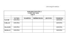 Horario Español Nivel 1, 2 y 3