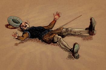El alguacil en el suelo
