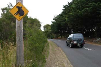 Señal de tráfico típica de Australia