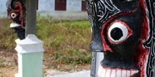 Detalle de tumba, Batak, Sumatra, Indonesia