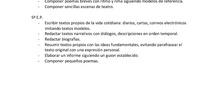Programación de contenidos sobre la expresión escrita.