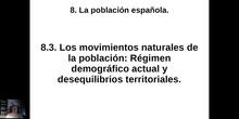0803 Modelo demográfico moderno y distribución de los movimientos naturales en España.