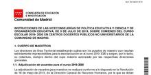 Instrucciones de las Viceconsejerías de política educativa y ciencia y de Organización educativa de 5 de julio de 2019, sobre el comienzo del curso escolar 2019-2020 en centros docentes públicos no universitarios de la Comunidad de Madrid.